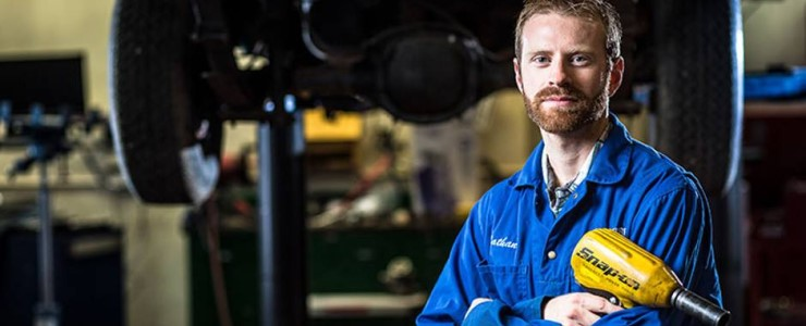 Mechanic happy with career at Riverside Auto Care.